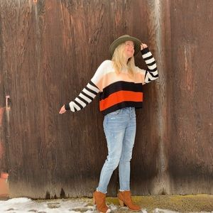 Color Block Knit Boxy Sweater